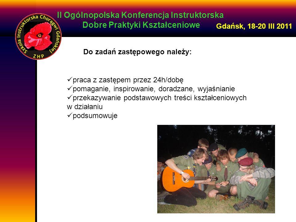 II Ogólnopolska Konferencja Instruktorska Dobre Praktyki Kształceniowe Gdańsk, 18-20 III 2011 Do zadań zastępowego należy: praca z zastępem przez 24h/