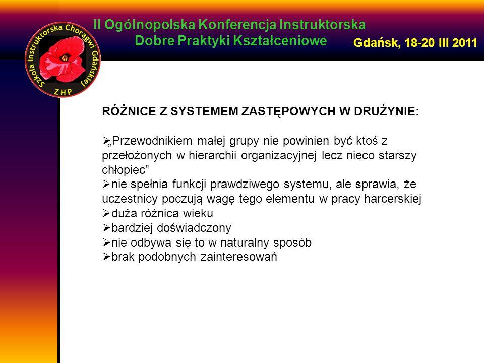 II Ogólnopolska Konferencja Instruktorska Dobre Praktyki Kształceniowe Gdańsk, 18-20 III 2011 RÓŻNICE Z SYSTEMEM ZASTĘPOWYCH W DRUŻYNIE: Przewodnikiem