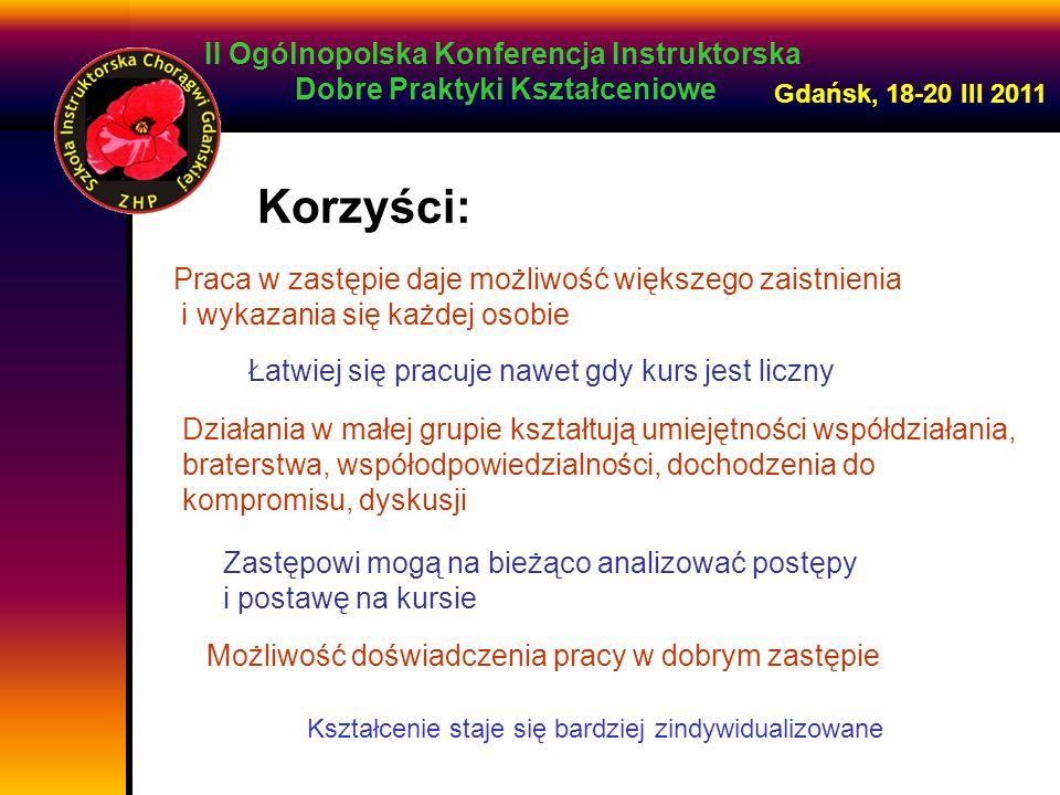 II Ogólnopolska Konferencja Instruktorska Dobre Praktyki Kształceniowe Gdańsk, 18-20 III 2011 Praca w zastępie daje możliwość większego zaistnienia i