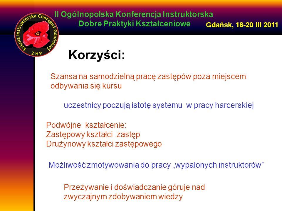 II Ogólnopolska Konferencja Instruktorska Dobre Praktyki Kształceniowe Gdańsk, 18-20 III 2011 Szansa na samodzielną pracę zastępów poza miejscem odbyw