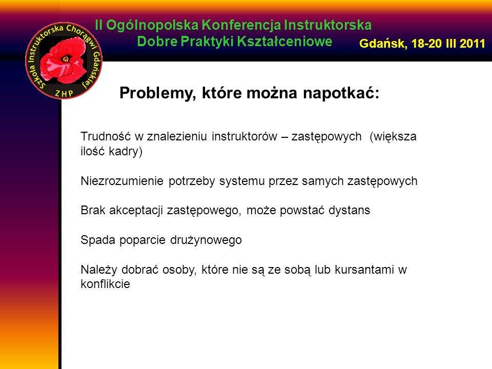 II Ogólnopolska Konferencja Instruktorska Dobre Praktyki Kształceniowe Gdańsk, 18-20 III 2011 Problemy, które można napotkać: Trudność w znalezieniu i