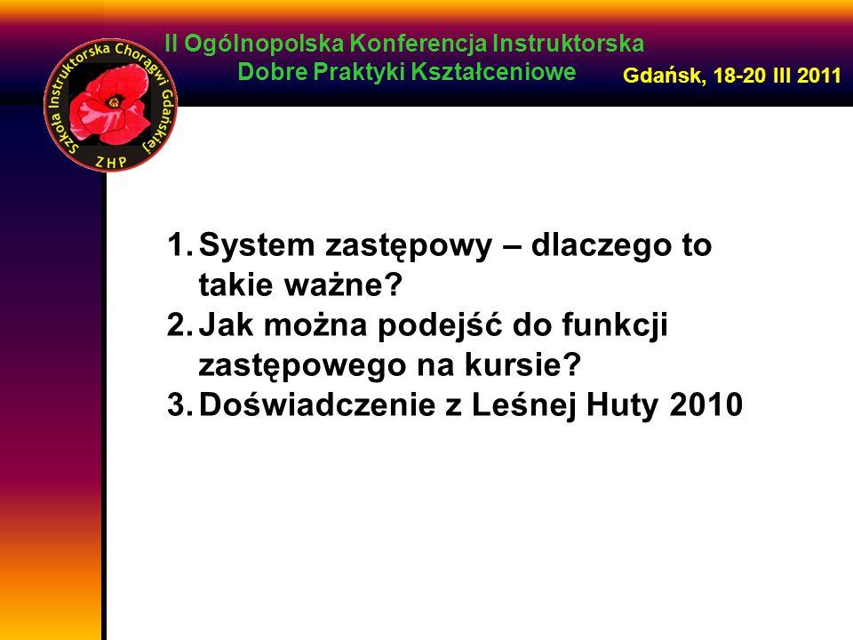 II Ogólnopolska Konferencja Instruktorska Dobre Praktyki Kształceniowe Gdańsk, 18-20 III 2011 W praktycznym działaniu zastęp może: przygotować i przeprowadzić zbiórkę zaplanować pracę drużyny zrealizować zadanie zespołowe czy projekt podjąć służbę zorganizować wędrówkę, wyprawę, grę, akcję zarobkową