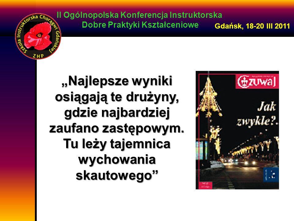 II Ogólnopolska Konferencja Instruktorska Dobre Praktyki Kształceniowe Gdańsk, 18-20 III 2011 Najlepsze wyniki osiągają te drużyny, gdzie najbardziej