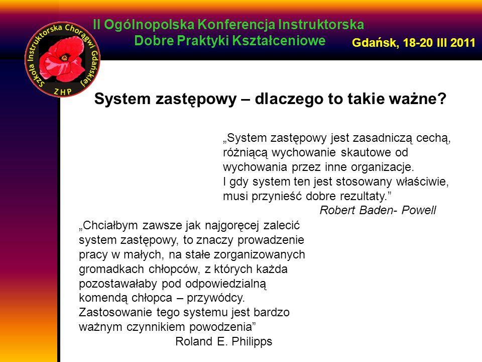 II Ogólnopolska Konferencja Instruktorska Dobre Praktyki Kształceniowe Gdańsk, 18-20 III 2011 element metody harcerskiej mała grupa to naturalne środowisko każdego młodego człowieka poczucie przynależności, bezpieczeństwa, akceptacji współdziałanie, solidarność, braterskość, samodzielność, indywidualność system zastępowy nie jest jedną z wielu metod organizowania pracy skautowej, lecz jest on jedyną metodą R.E.Philipps System zastępowy to formalizacja naturalnej skłonności ludzi do łączenia się w małe grupy