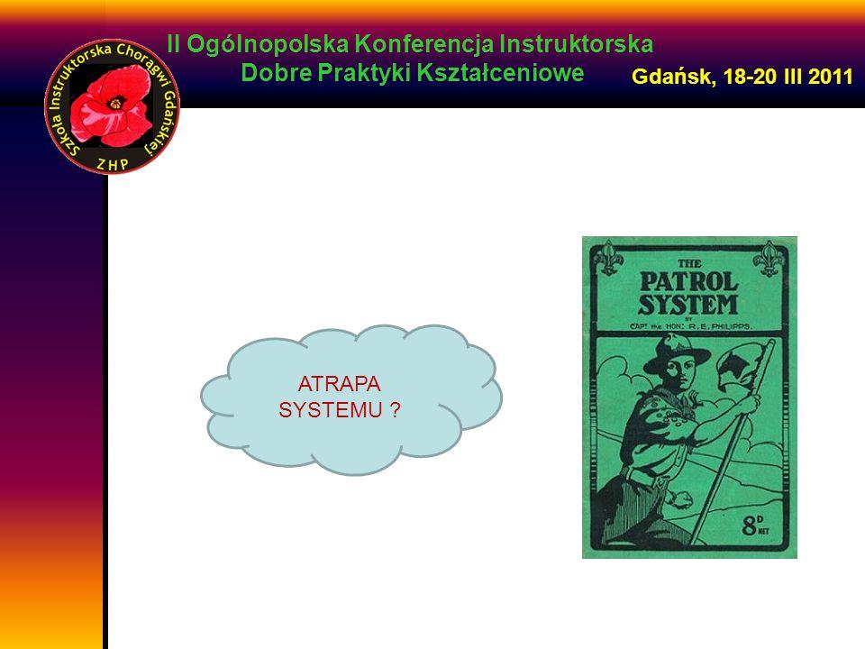 II Ogólnopolska Konferencja Instruktorska Dobre Praktyki Kształceniowe Gdańsk, 18-20 III 2011 Najlepsze wyniki osiągają te drużyny, gdzie najbardziej zaufano zastępowym.