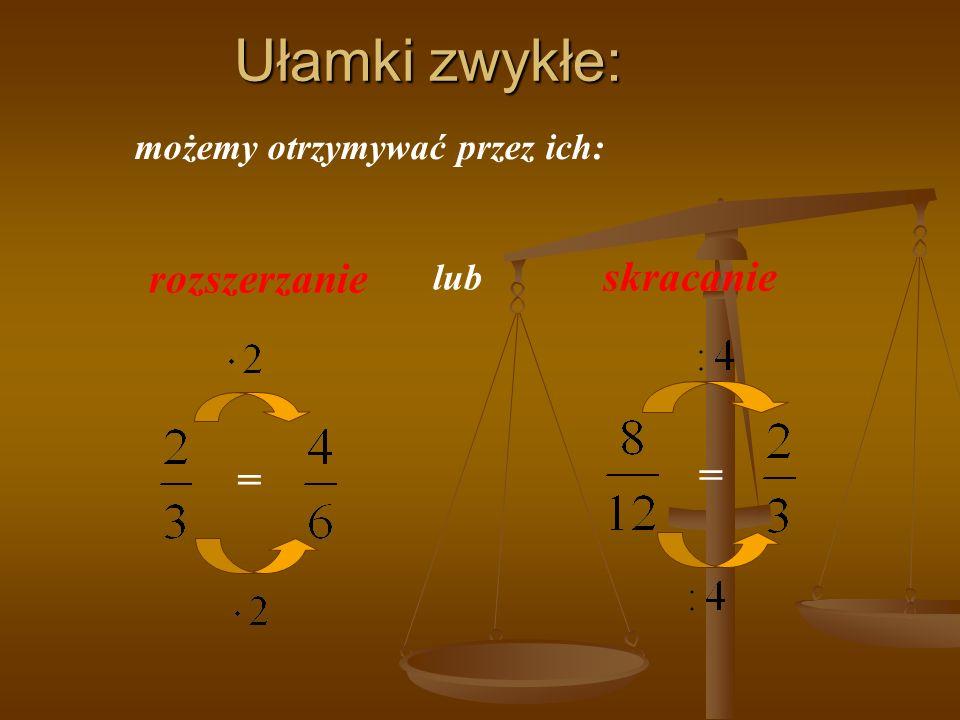 Ułamki zwykłe: możemy otrzymywać przez ich: = = rozszerzanie skracanie lub