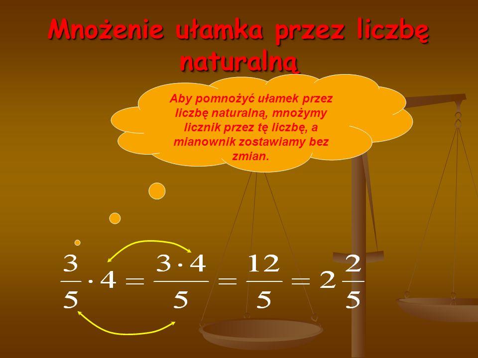 Mnożenie ułamka przez liczbę naturalną Aby pomnożyć ułamek przez liczbę naturalną, mnożymy licznik przez tę liczbę, a mianownik zostawiamy bez zmian.