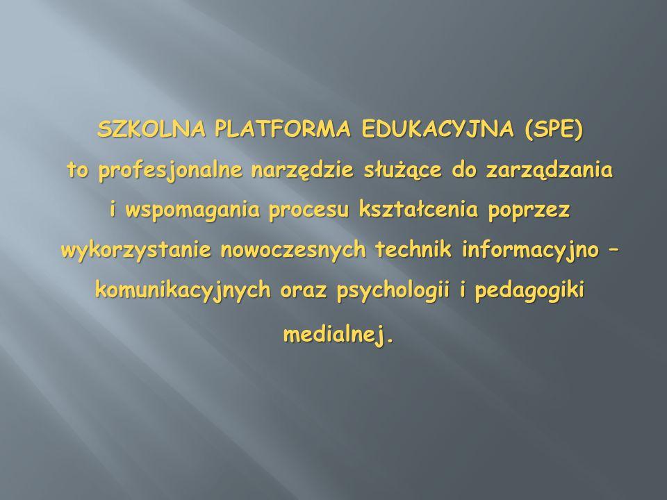SZKOLNA PLATFORMA EDUKACYJNA (SPE) to profesjonalne narzędzie służące do zarządzania i wspomagania procesu kształcenia poprzez wykorzystanie nowoczesnych technik informacyjno – komunikacyjnych oraz psychologii i pedagogiki medialnej.