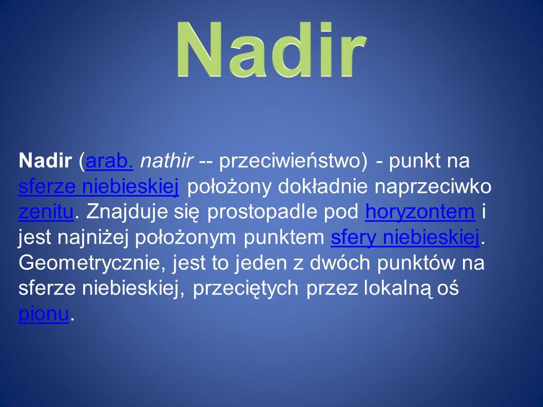 Nadir (arab. nathir -- przeciwieństwo) - punkt na sferze niebieskiej położony dokładnie naprzeciwko zenitu. Znajduje się prostopadle pod horyzontem i