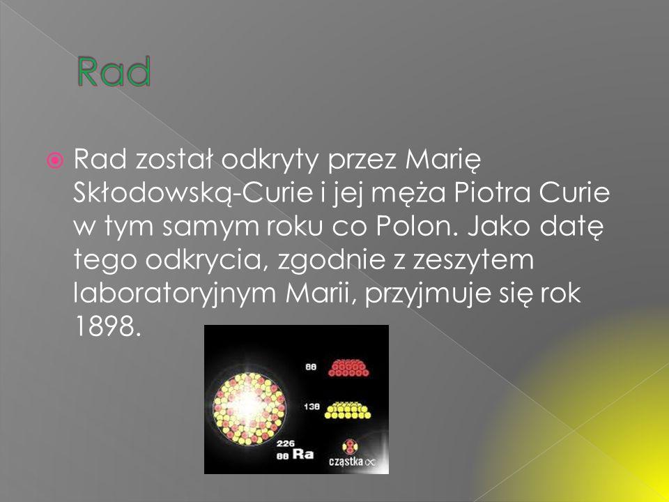 Pierwiastek ten został odkryty w 1898 r. przez Marię Skłodowską-Curie i Piotra Curie – w tym samym roku co rad. Curie nadała mu nazwę na cześć Polski,