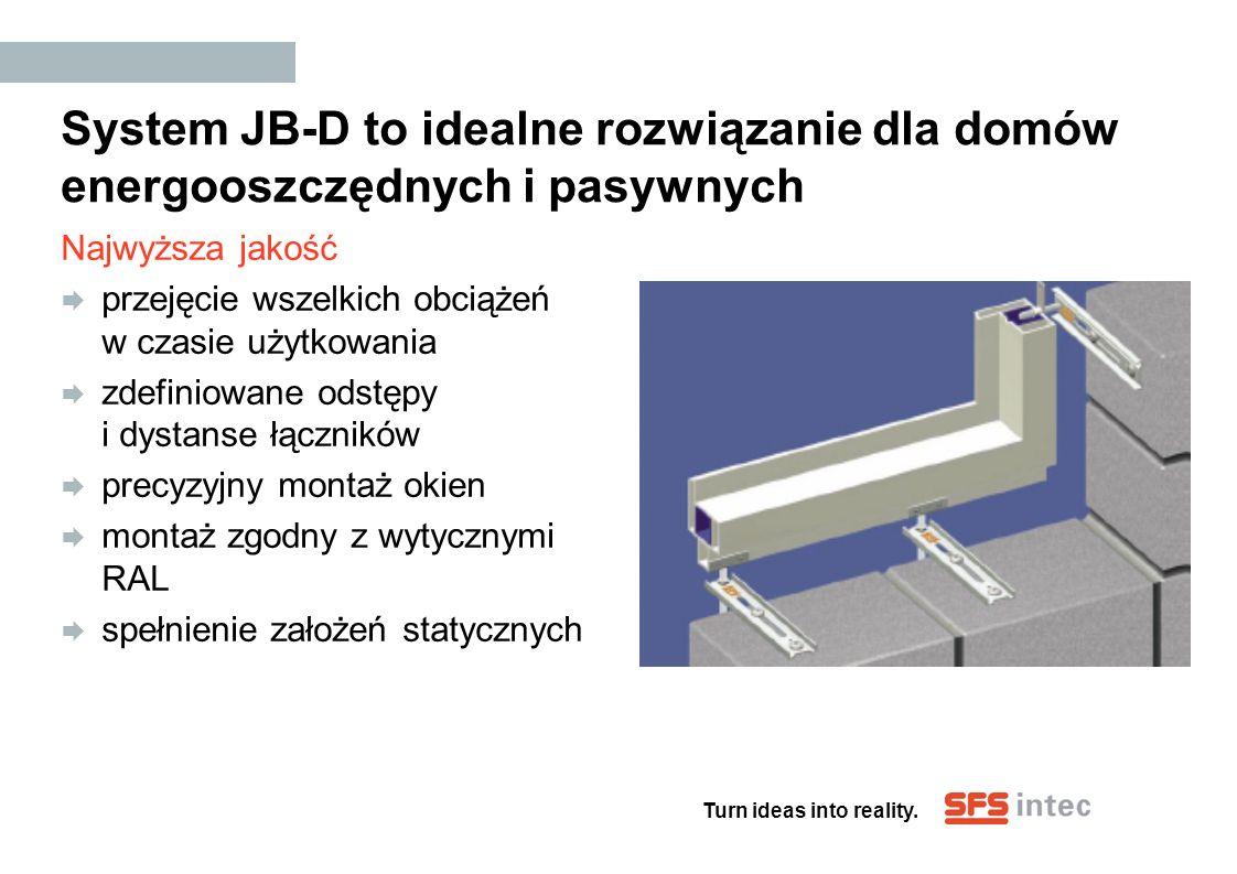 Turn ideas into reality. System JB-D to idealne rozwiązanie dla domów energooszczędnych i pasywnych Najwyższa jakość przejęcie wszelkich obciążeń w cz