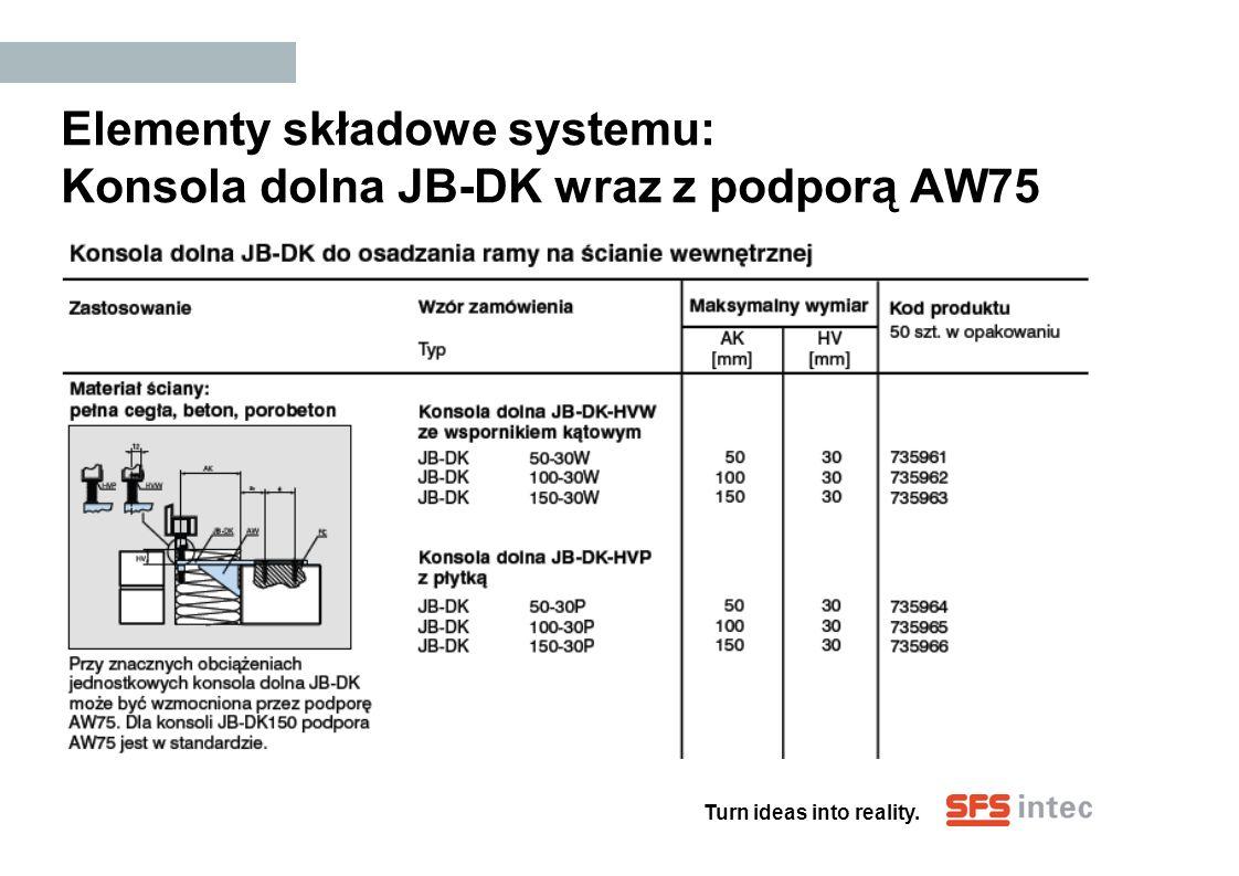 Turn ideas into reality. Elementy składowe systemu: Konsola dolna JB-DK wraz z podporą AW75