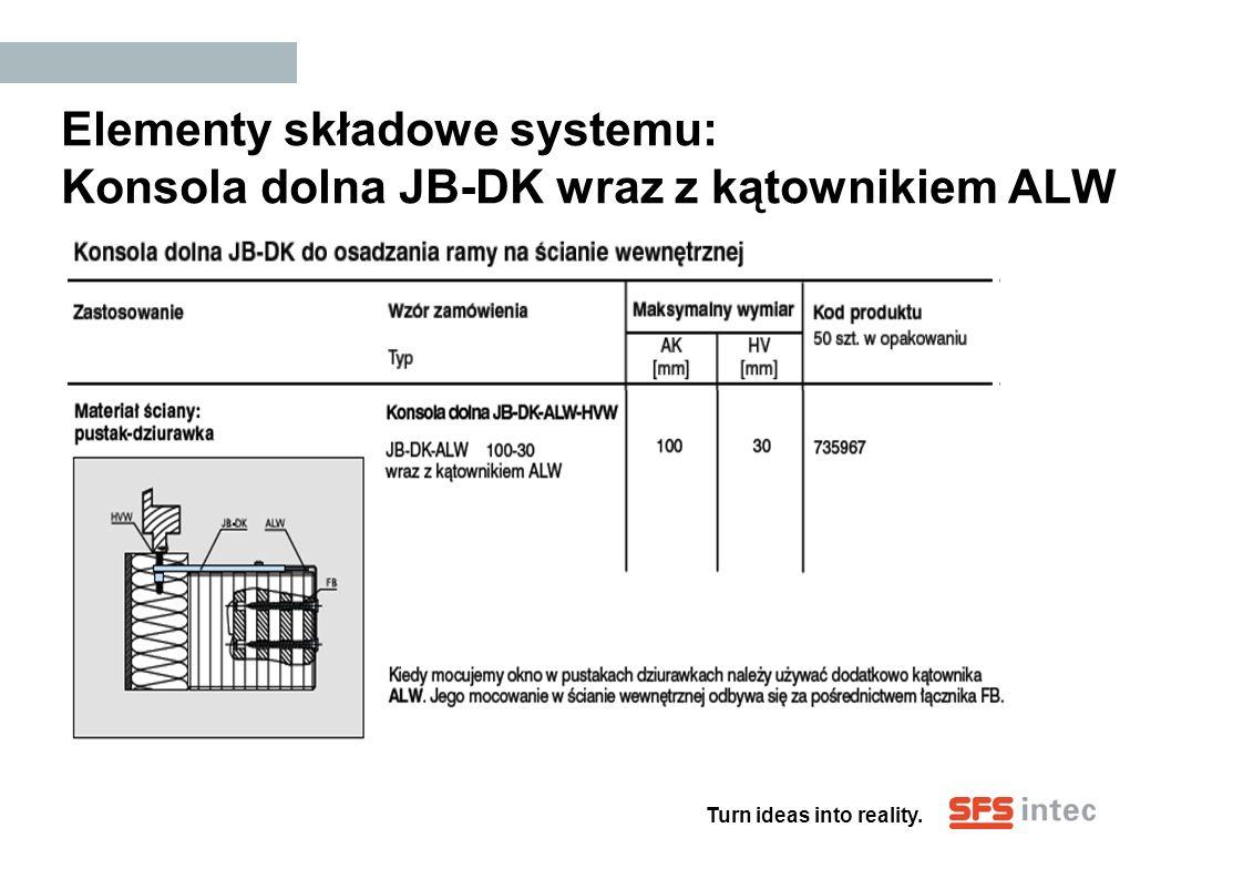 Turn ideas into reality. Elementy składowe systemu: Konsola dolna JB-DK wraz z kątownikiem ALW