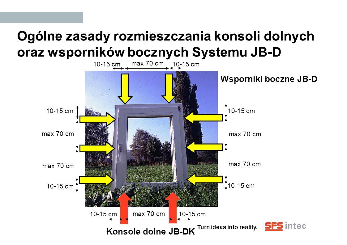 Turn ideas into reality. Ogólne zasady rozmieszczania konsoli dolnych oraz wsporników bocznych Systemu JB-D 10-15 cm max 70 cm 10-15 cm max 70 cm 10-1