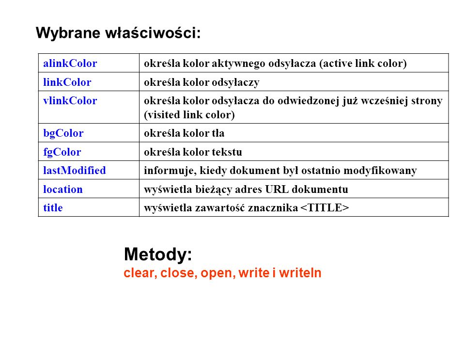 Wybrane właściwości: alinkColorokreśla kolor aktywnego odsyłacza (active link color) linkColorokreśla kolor odsyłaczy vlinkColorokreśla kolor odsyłacz