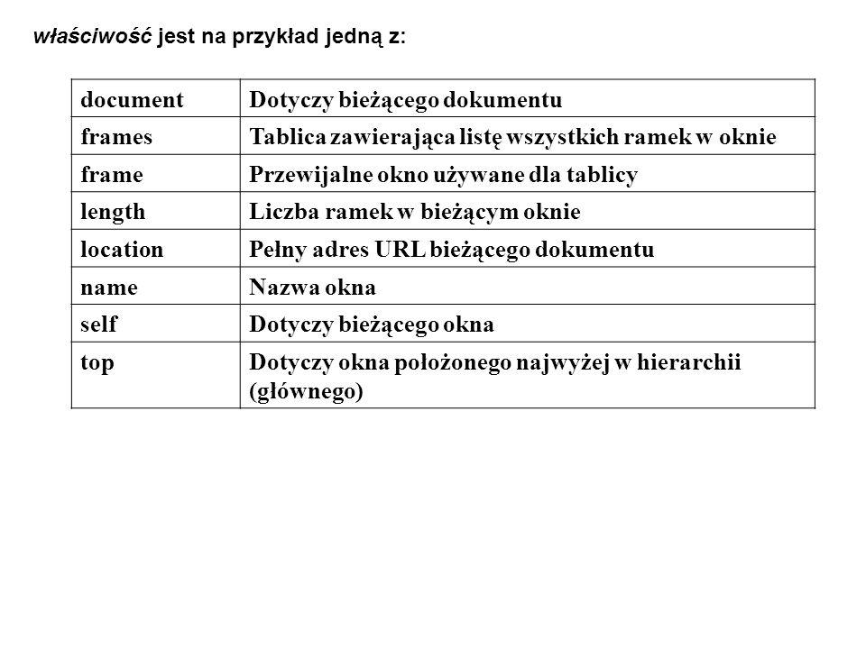 documentDotyczy bieżącego dokumentu framesTablica zawierająca listę wszystkich ramek w oknie framePrzewijalne okno używane dla tablicy lengthLiczba ra