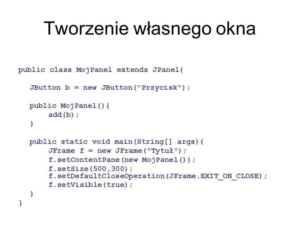Tworzenie własnego okna public class MojPanel extends JPanel{ JButton b = new JButton(