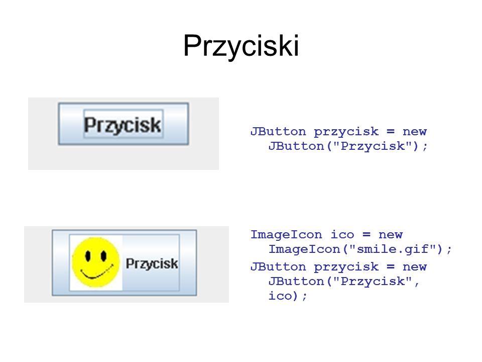 Przyciski JButton przycisk = new JButton(