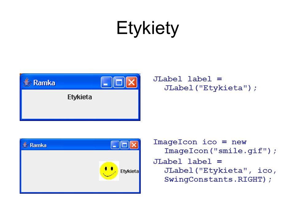Etykiety JLabel label = JLabel(