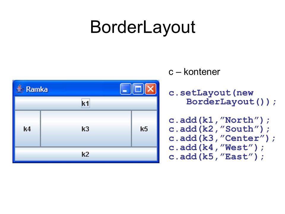 BorderLayout c – kontener c.setLayout(new BorderLayout()); c.add(k1,North); c.add(k2,South); c.add(k3,Center); c.add(k4,West); c.add(k5,East);