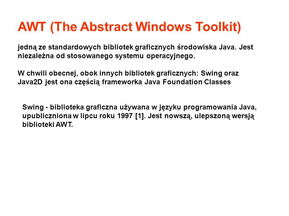Okna dialogowe JOptionPane.showMessageDialog( null, Jakaś wiadomość ); String odp = JOptionPane.showInputDialog( Podaj wartość ); int odp = JOptionPane.showConfirmDialog( null, Czy...? ); switch(odp){ case JOptionPane.YES_OPTION :....; case JOptionPane.NO_OPTION :....; }
