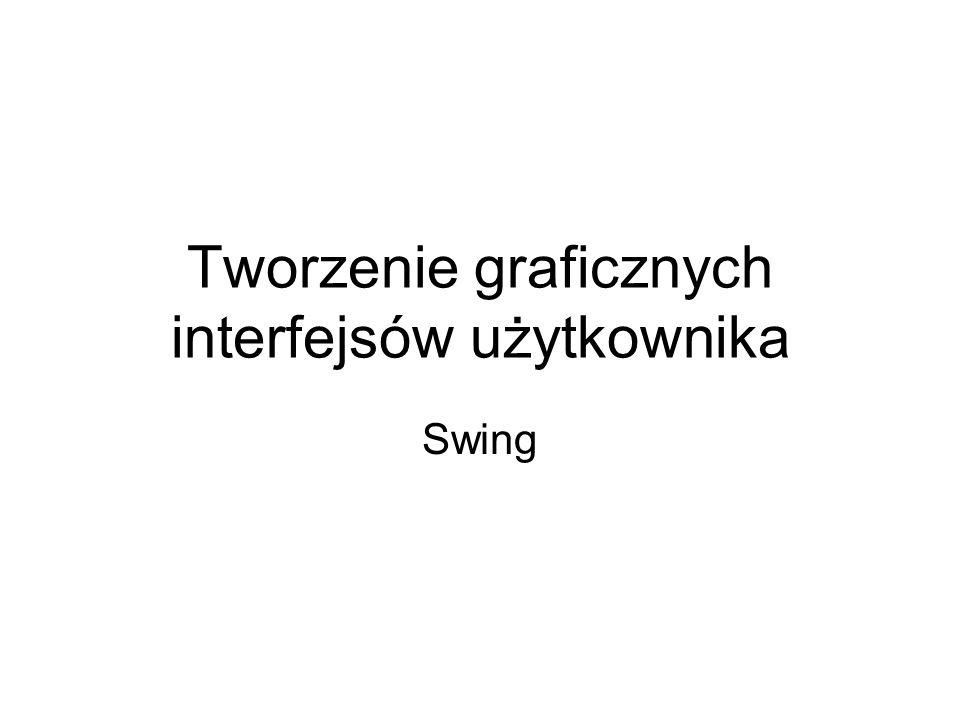 //konstruktor klasy public MojaFrame(){ //tworzymy 3 pracowników biezacy[0] = new Pracownik( T.Bialy , 123.12); biezacy[1] = new Pracownik( J.Schmidt , 56.12); biezacy[2] = new Pracownik( A.Moraw , 34.75); //utworzenie nowej ramki t1.setColumns(10);//ile znaków setLayout(new BorderLayout(2,1)); p2.setSize(new Dimension (50,20)); p2.setBackground(Color.RED); p2.setLayout(new GridLayout(3,1)); //dodanie słuchaczy do panelu 2 i przycisku b1.addActionListener(d1); b2.addActionListener(d2); //przyciski do panelu 1 – domyślnie FlowLayout - strumieniowy p1.add(b1); p1.add(b2); //pola tekstowe do panelu 2 p2.add(t1); p2.add(t2); p2.add(t3);