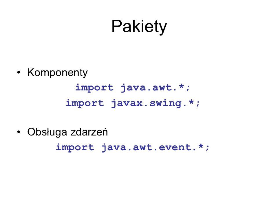 Pakiety Komponenty import java.awt.*; import javax.swing.*; Obsługa zdarzeń import java.awt.event.*;