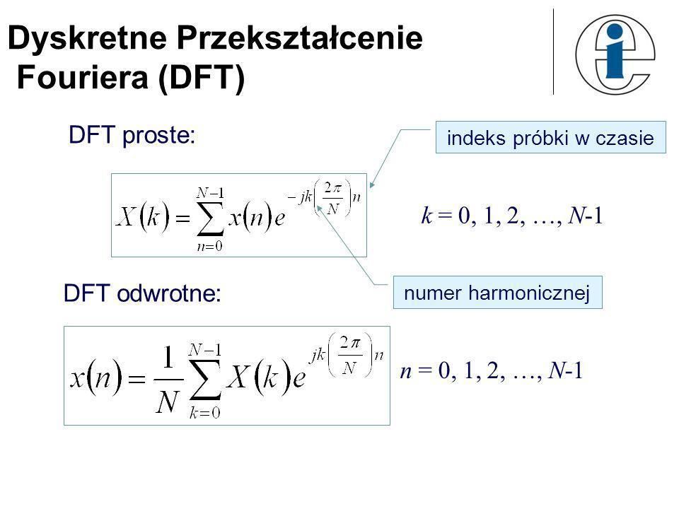 Dyskretne Przekształcenie Fouriera (DFT) 18 Najmniejsza częstotliwość szeregu Fouriera (tzw. częstotliwość podstawowa) wynosi: T t N t 012 N-1 x(t)x(t