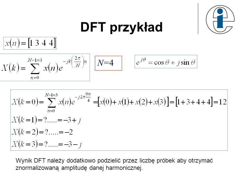 DFT przykład N=4 Wynik DFT należy dodatkowo podzielić przez liczbę próbek aby otrzymać znormalizowaną amplitudę danej harmonicznej. ?