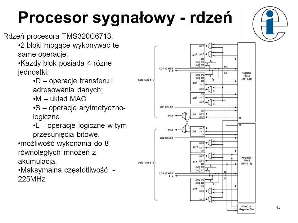 Procesor sygnałowy 42 Przystosowany do potokowego przetwarzania danych: mnogość szeregowych interfejsów komunikacyjnych, zwielokrotnione bloki ALU rdz