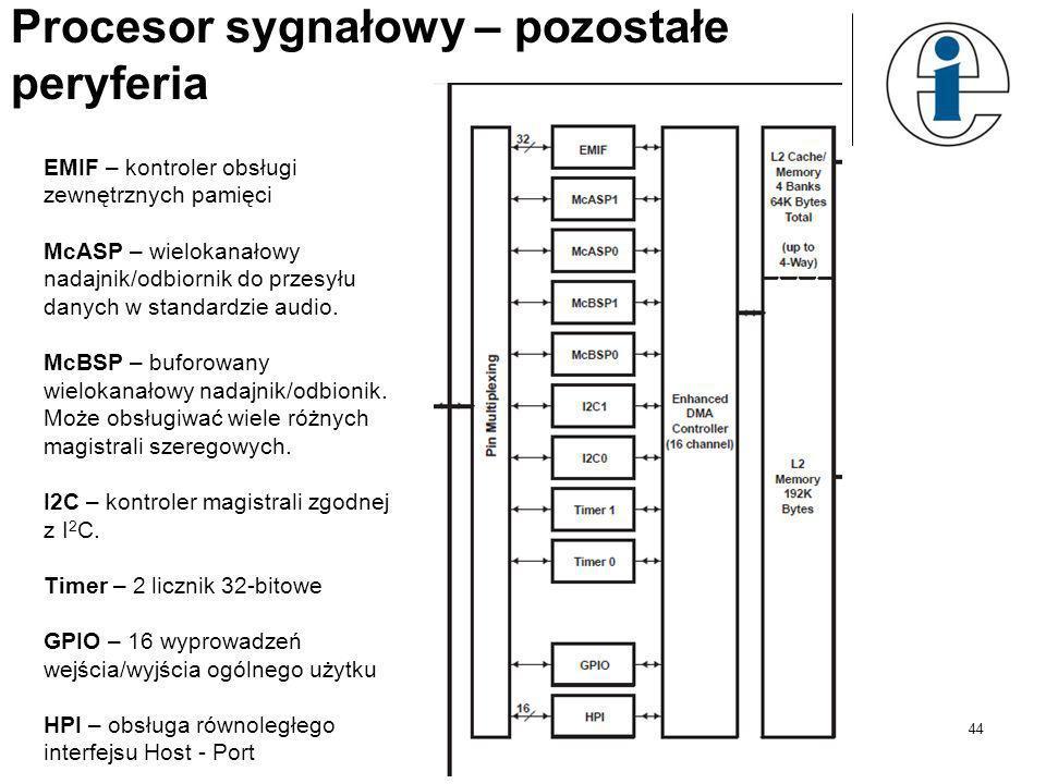 Procesor sygnałowy - rdzeń 43 Rdzeń procesora TMS320C6713: 2 bloki mogące wykonywać te same operacje, Każdy blok posiada 4 różne jednostki: D – operac