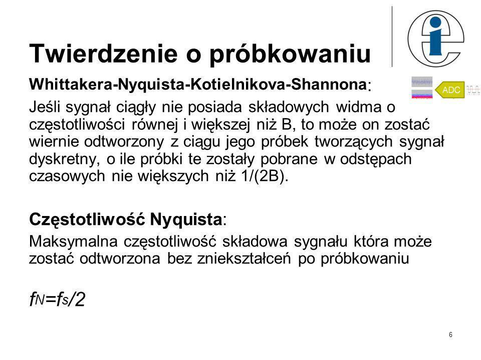 Twierdzenie o próbkowaniu Whittakera-Nyquista-Kotielnikova-Shannona : Jeśli sygnał ciągły nie posiada składowych widma o częstotliwości równej i większej niż B, to może on zostać wiernie odtworzony z ciągu jego próbek tworzących sygnał dyskretny, o ile próbki te zostały pobrane w odstępach czasowych nie większych niż 1/(2B).