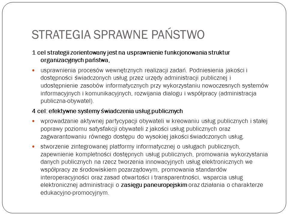STRATEGIA SPRAWNE PAŃSTWO 1 cel strategii zorientowany jest na usprawnienie funkcjonowania struktur organizacyjnych państwa, usprawnienia procesów wew