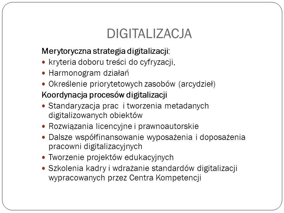 DIGITALIZACJA Merytoryczna strategia digitalizacji: kryteria doboru treści do cyfryzacji, Harmonogram działań Określenie priorytetowych zasobów (arcyd