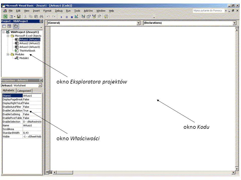 50 okno Eksploratora projektówokno Właściwościokno Kodu