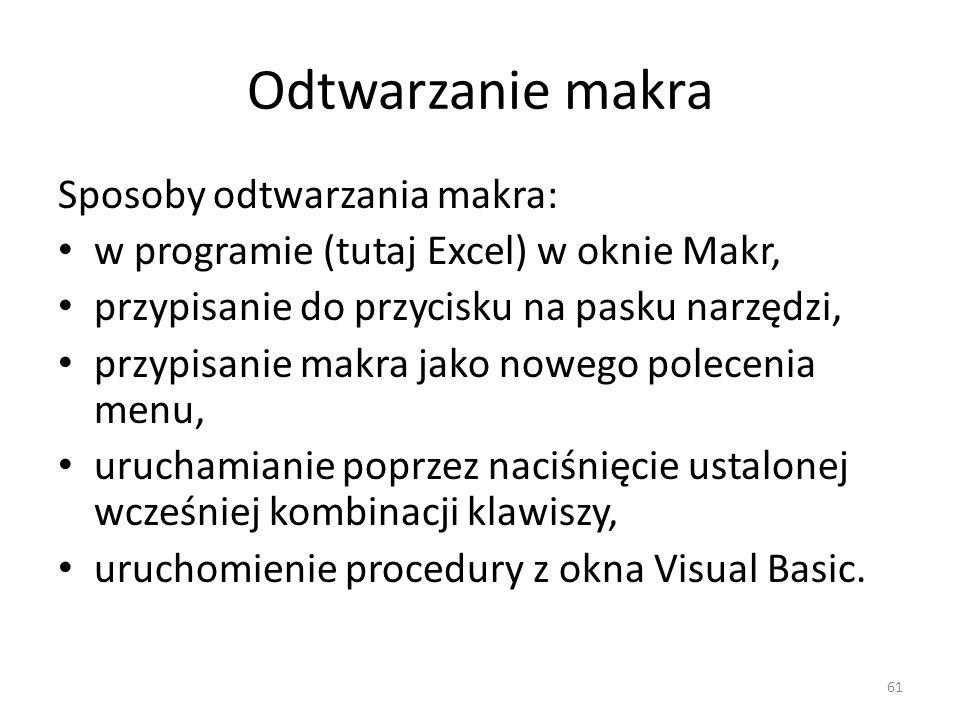 61 Odtwarzanie makra Sposoby odtwarzania makra: w programie (tutaj Excel) w oknie Makr, przypisanie do przycisku na pasku narzędzi, przypisanie makra