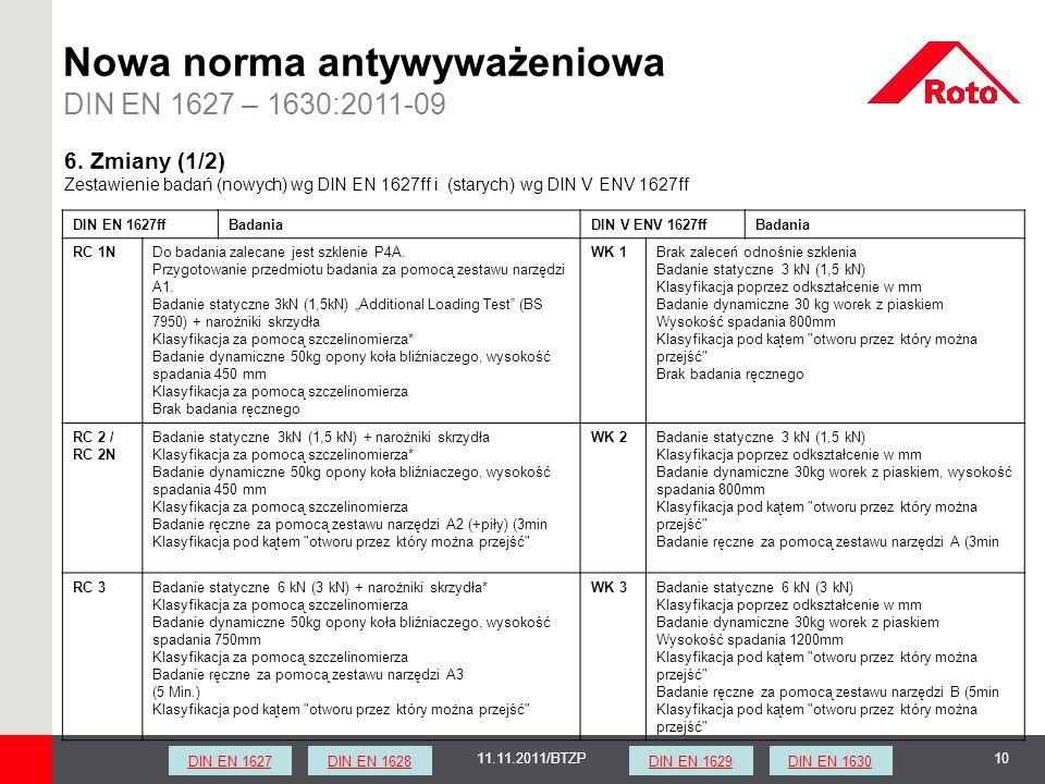 1011.11.2011/BTZP Nowa norma antywyważeniowa DIN EN 1627 – 1630:2011-09 DIN EN 1627ffBadaniaDIN V ENV 1627ffBadania RC 1NDo badania zalecane jest szkl