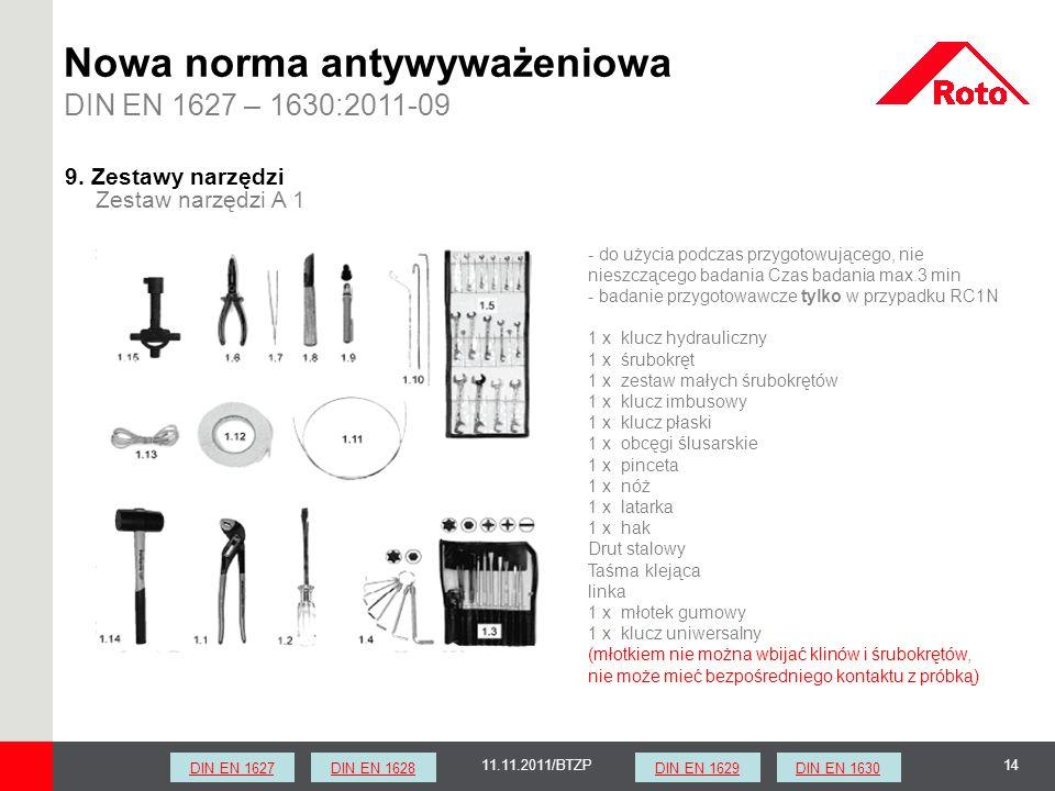 1411.11.2011/BTZP Zestaw narzędzi A 1 9. Zestawy narzędzi - do użycia podczas przygotowującego, nie nieszczącego badania Czas badania max.3 min - bada
