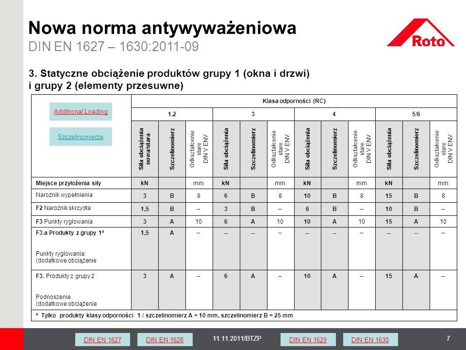 711.11.2011/BTZP Nowa norma antywyważeniowa DIN EN 1627 – 1630:2011-09 a Tylko produkty klasy odporności 1 / szczelinomierz A = 10 mm, szczelinomierz