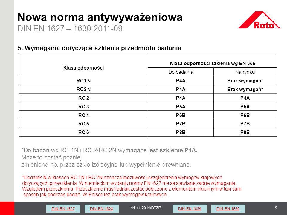 911.11.2011/BTZP Nowa norma antywyważeniowa DIN EN 1627 – 1630:2011-09 5. Wymagania dotyczące szklenia przedmiotu badania Klasa odporności Klasa odpor