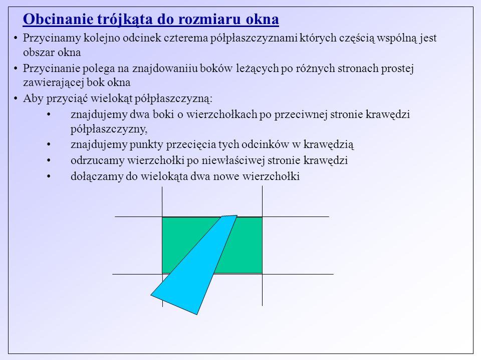 Obcinanie trójkąta do rozmiaru okna Przycinamy kolejno odcinek czterema półpłaszczyznami których częścią wspólną jest obszar okna Przycinanie polega n