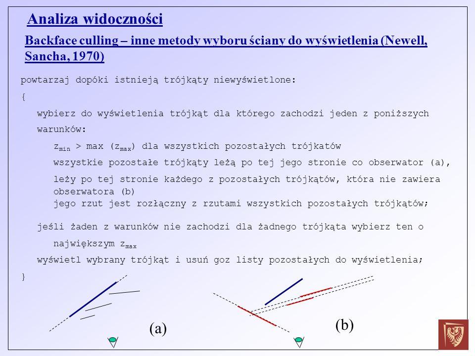 Backface culling – inne metody wyboru ściany do wyświetlenia (Newell, Sancha, 1970) Analiza widoczności powtarzaj dopóki istnieją trójkąty niewyświetl