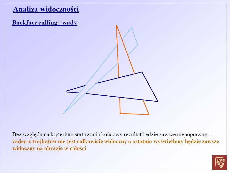 Backface culling - wady Bez względu na kryterium sortowania końcowy rezultat będzie zawsze niepoprawny – żaden z trójkątów nie jest całkowicie widoczn