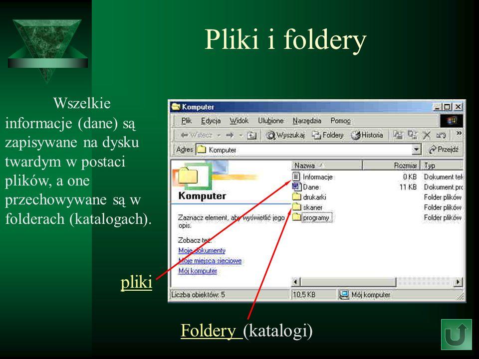 Pliki i foldery Wszelkie informacje (dane) są zapisywane na dysku twardym w postaci plików, a one przechowywane są w folderach (katalogach). pliki Fol