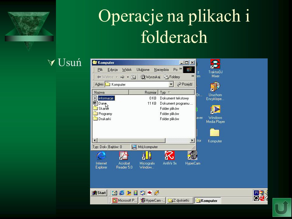 Operacje na plikach i folderach Usuń