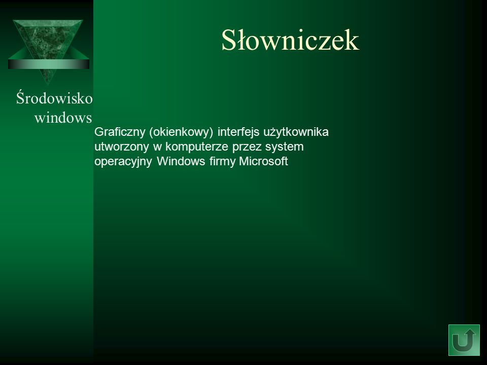 Słowniczek Środowisko windows Graficzny (okienkowy) interfejs użytkownika utworzony w komputerze przez system operacyjny Windows firmy Microsoft
