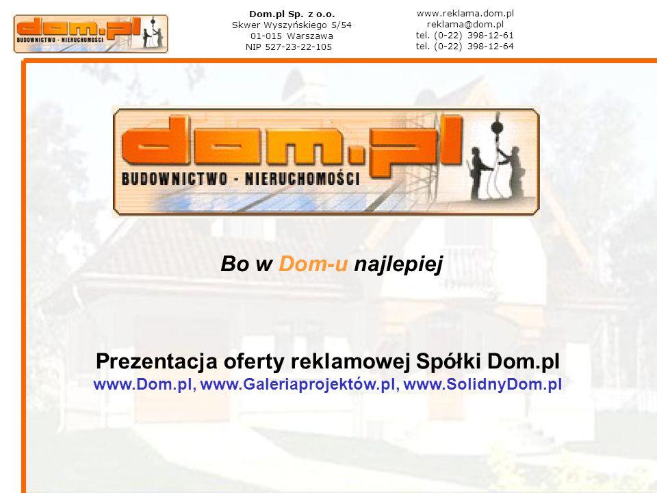 Bo w Dom-u najlepiej Prezentacja oferty reklamowej Spółki Dom.pl www.Dom.pl, www.Galeriaprojektów.pl, www.SolidnyDom.pl Dom.pl Sp. z o.o. Skwer Wyszyń