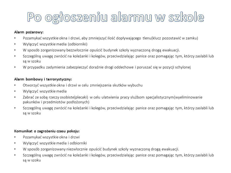 Alarm pożarowy: Pozamykać wszystkie okna i drzwi, aby zmniejszyć ilość dopływającego tlenu(klucz pozostawić w zamku) Wyłączyć wszystkie media (odbiorn