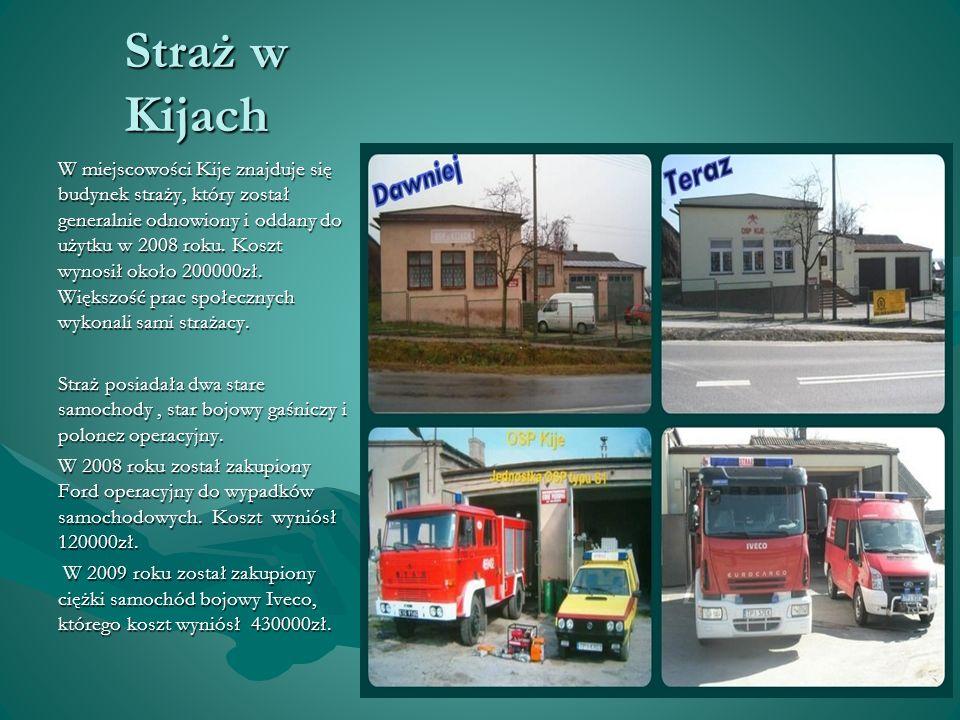 Straż w Kijach W miejscowości Kije znajduje się budynek straży, który został generalnie odnowiony i oddany do użytku w 2008 roku. Koszt wynosił około