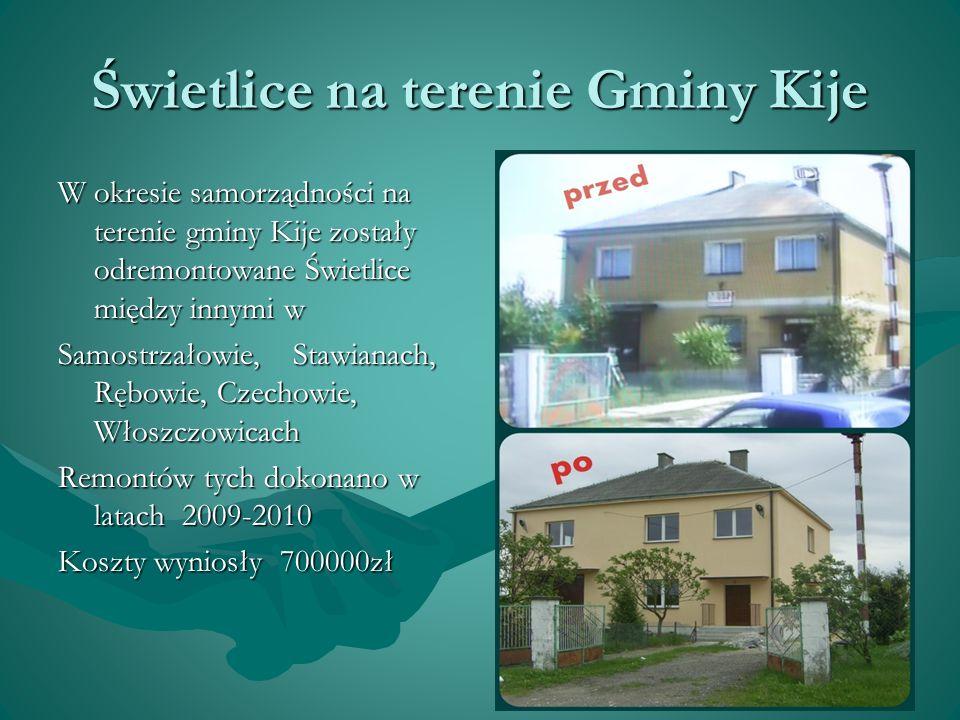 Świetlice na terenie Gminy Kije W okresie samorządności na terenie gminy Kije zostały odremontowane Świetlice między innymi w Samostrzałowie, Stawiana
